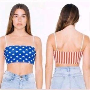 American Apparel American Flag Crop Top